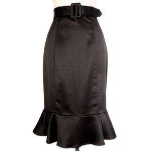 Retro Black Satin High Waist Peplum Skirt